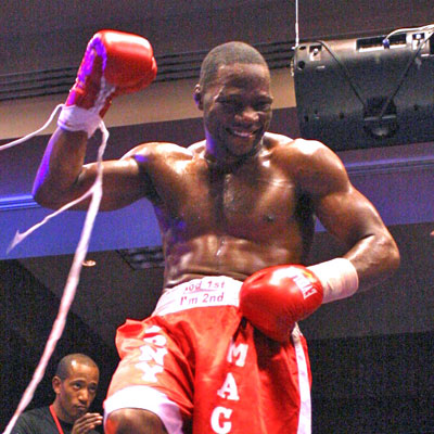 Tony Mack celebrates after his victory, Photo By Wesley Ortiz, Memphisboxing.com